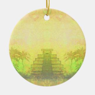 Mayan Pyramid, Mexico Decoration Round Ceramic Decoration