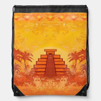 Mayan Pyramid, Mexico Drawstring Backpack