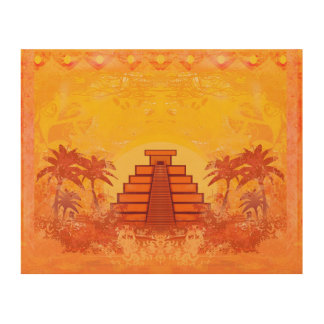 Mayan Pyramid, Mexico wood canvas