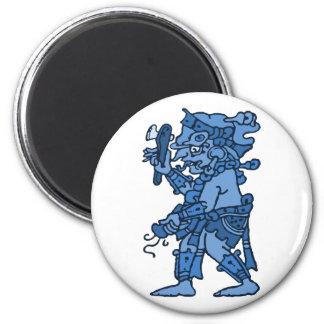 Mayan Rain God Blue Magnet
