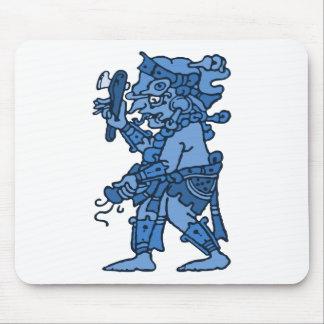 Mayan Rain God Blue Mouse Mat