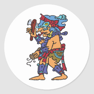 Mayan Rain God Colored Classic Round Sticker