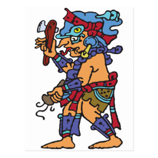 Mayan Rain God Colored Postcard