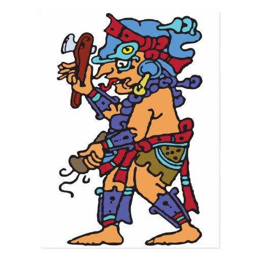 Mayan Rain God Colored Post Card