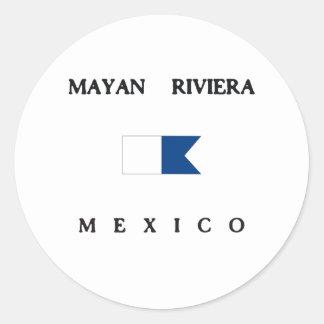 Mayan Riviera Mexico Alpha Dive Flag Classic Round Sticker