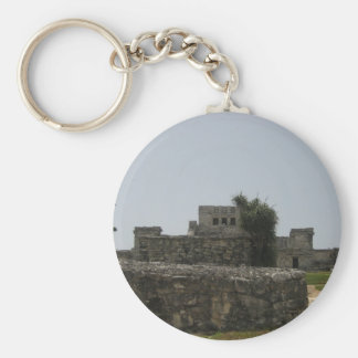 Mayan Ruin Basic Round Button Key Ring