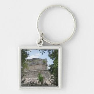 Mayan Ruin Silver-Colored Square Key Ring