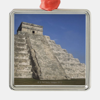 Mayan ruins at Chichen Itza, Kukulcans Pyramid Silver-Colored Square Decoration