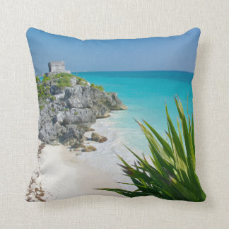 Mayan Ruins At The Beach In Tulum Cushion