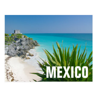 Mayan Ruins At The Beach In Tulum Postcard