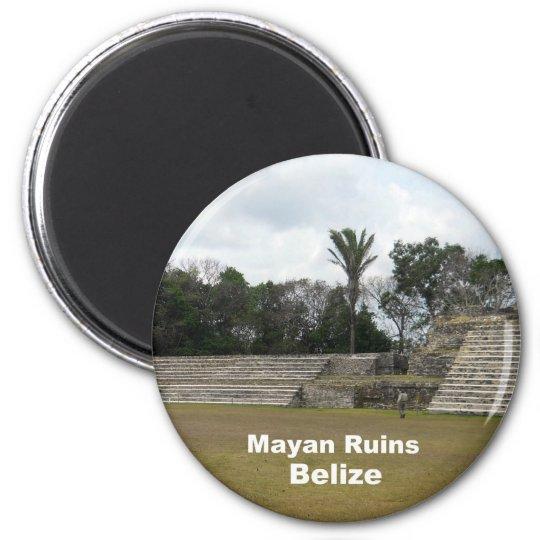 Mayan Ruins, Belise 6 Cm Round Magnet