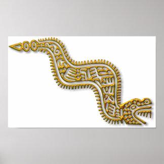 Mayan Serpent-gold Poster