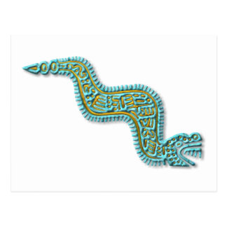 Mayan Serpent-turquoise and gold Postcard
