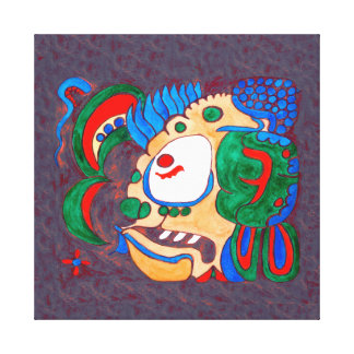 MAYAN SPIRIT KAI YUM- RED AND BLUE BACKGROUND CANVAS PRINT
