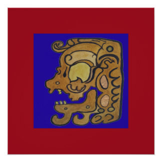 MAYAN SPIRIT OF DEATH- BLUE AND RED BACKGROUND