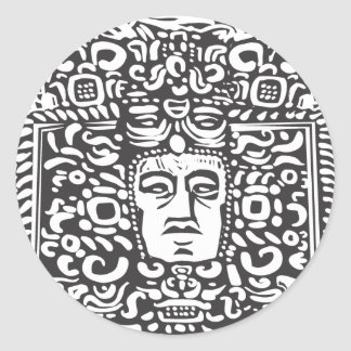 Mayan Stele Head Classic Round Sticker
