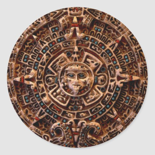 MAYAN Sun Calendar of Mexico Round Sticker