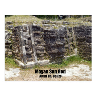 Mayan Sun God - Altun Ha, Belize Postcard