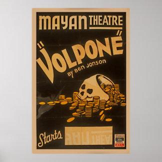 Mayan Theatre Volpone By Ben Jonson Vintage WPA Poster