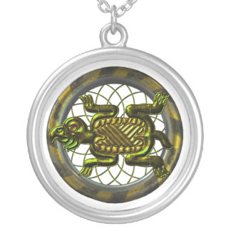 Mayan Turtle Silver Plated Necklace