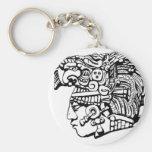 Mayan Warrior Basic Round Button Key Ring