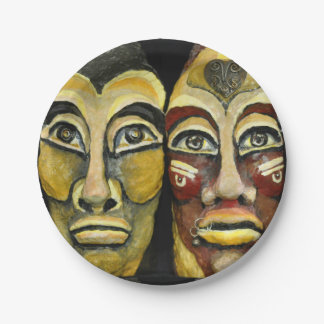 Mayan warriors - surrealism design 7 inch paper plate