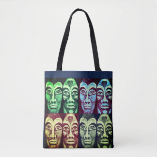 Mayan warriors - surrealism painted design tote bag