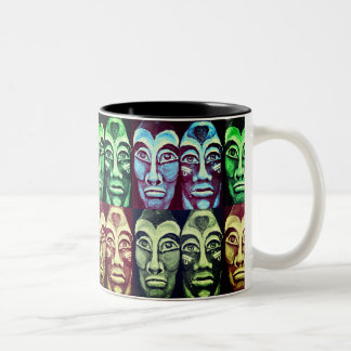 Mayan warriors - surrealism painted design Two-Tone coffee mug