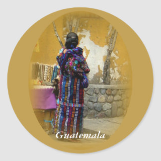 Mayan Woman in Panajachel Guatemala your text Classic Round Sticker