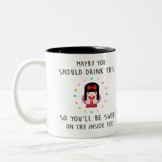 MAYBE YOU SHOULD DRINK THIS... cute geisha Two-Tone Mug
