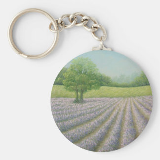 Mayfield Lavender in Bloom, Carshalton, Pastel Basic Round Button Key Ring