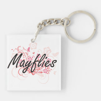 Mayflies with flowers background Double-Sided square acrylic key ring