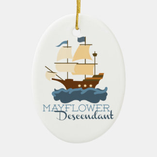 Mayflower Descendant Ceramic Oval Decoration