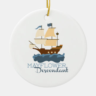 Mayflower Descendant Round Ceramic Decoration