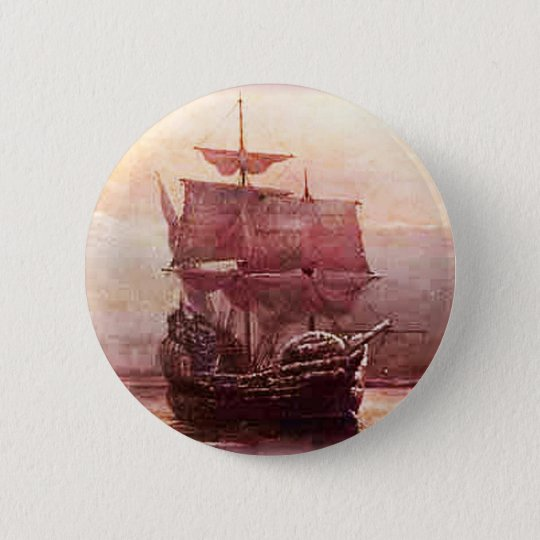 Mayflower in the Hudson Harbour 6 Cm Round Badge