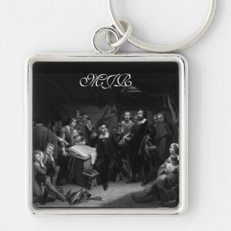 Mayflower Pilgrim Fathers - Signing of the Compact Silver-Colored Square Key Ring