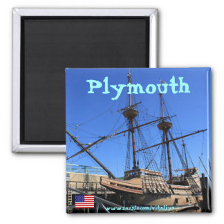 Mayflower sailing ship in Plymouth magnet design