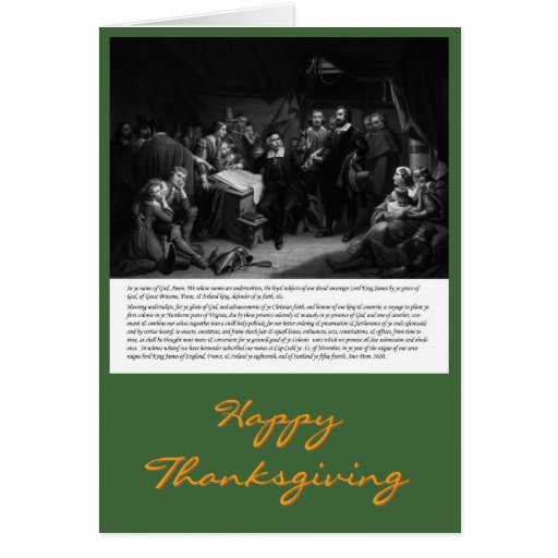 Mayflower - Signing of Compact thanksgiving card