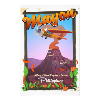 Mayon Volcano philippines adventure poster Stationery