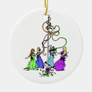 Maypole Dancers Round Ceramic Decoration