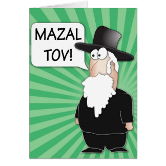 Mazal Tov Greeting Card - Jewish Rabbi cartoon