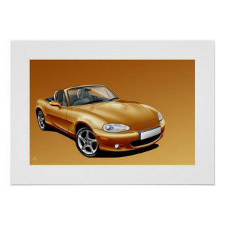 Mazda MX5 mk2 Poster Illustration
