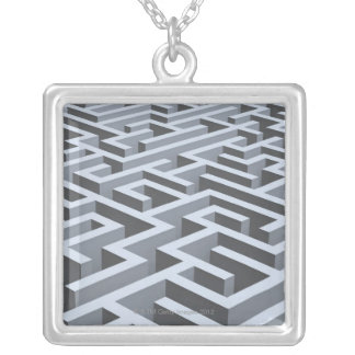 Maze 3 silver plated necklace