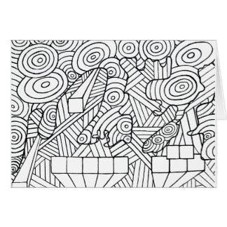 Maze of map greeting card coloring DIY doodle art