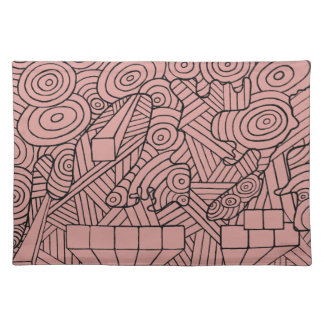 Maze of map place mat with cute doodle pattern