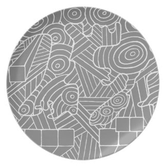 Maze of map plate with cute&simple doodle pattern