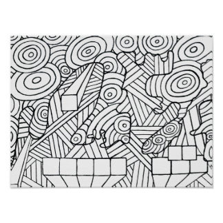 Maze of map poster coloring DIY with doodle art