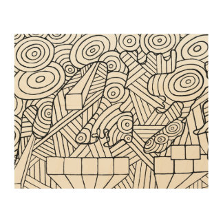 Maze of map wood canvas coloring DIY doodle art