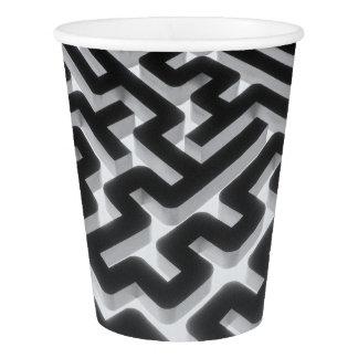 Maze Silver Black Paper Cup