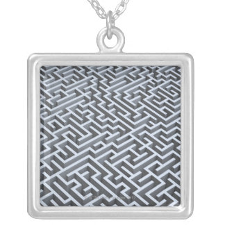 Maze Silver Plated Necklace